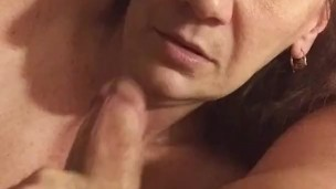 Wife sucks me dry with cumshot